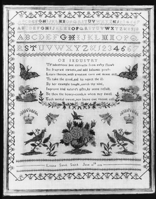 A sampler by Louisa Sarah Smith 1830, finely worked in coloured silks with alphabets and numerals, with a central verse On Industry and with various spot motifs including butterflies, crowns, birds and a vase overflowing with roses--24 x 20in. (61 x 51cm.), framed and glazed