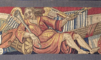 A tapestry fragment, woven in