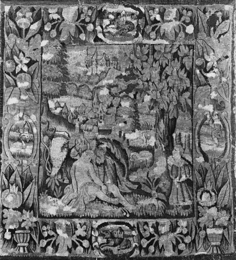 A tapestry panel, woven in coloured wools and silks with The Good Samaritan attending to a man, to the left with a grazing horse and to the right with a young maiden approaching, the distance with birds and townscapes,within a floral and foliate border with cartouches of swans to each side, to the top and bottom with a cartouche with a dog, within a blue outer slip--23 x 21in. (59 x 54cm.), North German, late 16th-early 17th century, extensive reweaving and patching