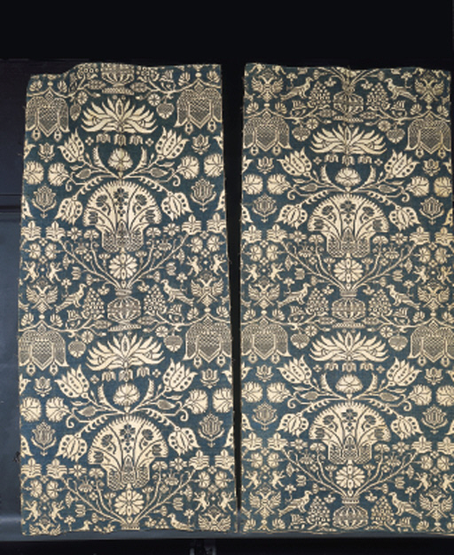 Two panels of linen damask, woven in teal blue and white with stylised floral urns and birds and the Prussian double headed eagle--68 x 31in. (170 x 78cm.), probably Dutch (Holstein), 17th century, some wear