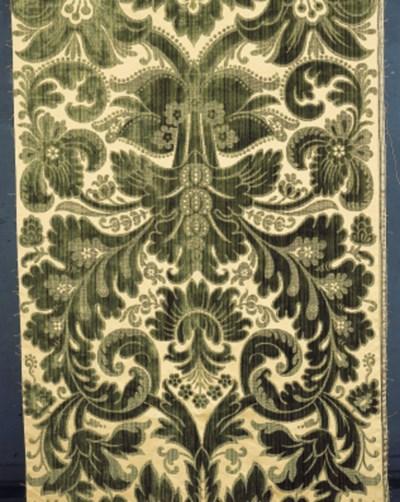 A panel of crimson silk velvet