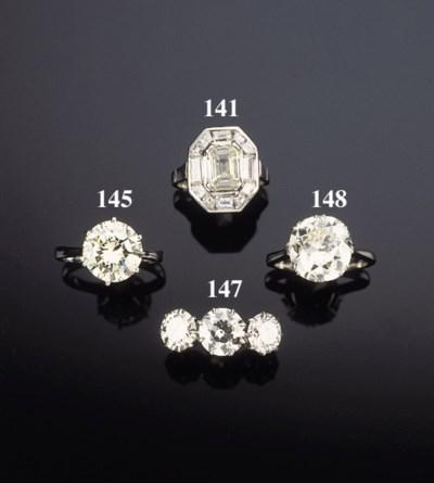 A diamond three stone ring,