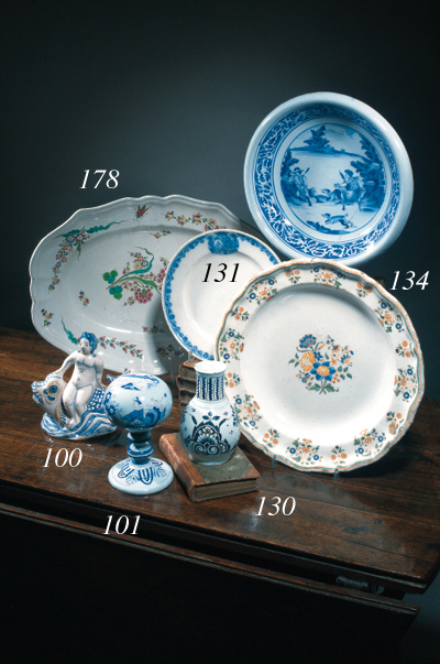 A Moustiers blue and white armorial plate
