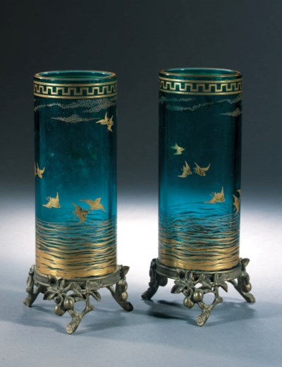 A PAIR OF GILT-ENAMELLED AND M
