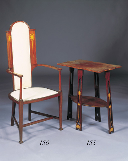 AN ART NOUVEAU MAHOGANY AND INLAID OCCASIONAL TABLE
