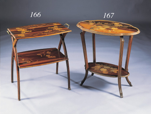 A FRUITWOOD MARQUETRY TWO TIER OCCASIONAL TABLE