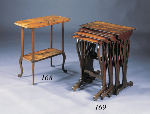 A FRUITWOOD MARQUETRY TWO-TIER OCCASIONAL TABLE