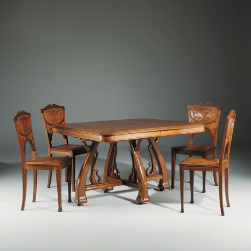 Peachy An Art Nouveau Carved Dining Table And Six Chairs Ensuite Home Interior And Landscaping Staixmapetitesourisinfo
