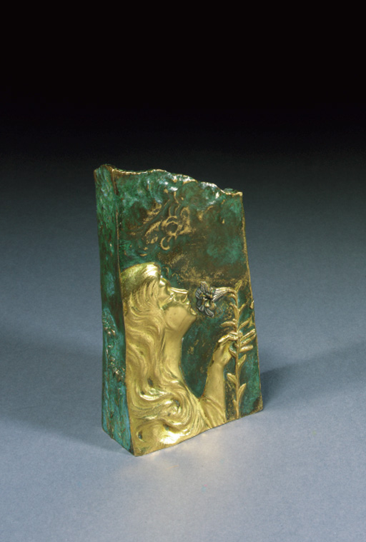 'BENT FOR SCENT' A GILT AND GREEN PATINATED BRONZE FIGURAL VASE