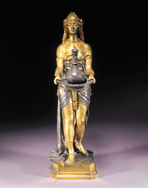 A GILT AND SILVERED BRONZE FIGURE