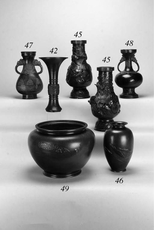 A Japanese bronze ovoid baluster vase