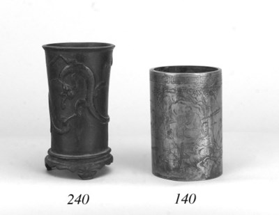 A Chinese bronze cylindrical b