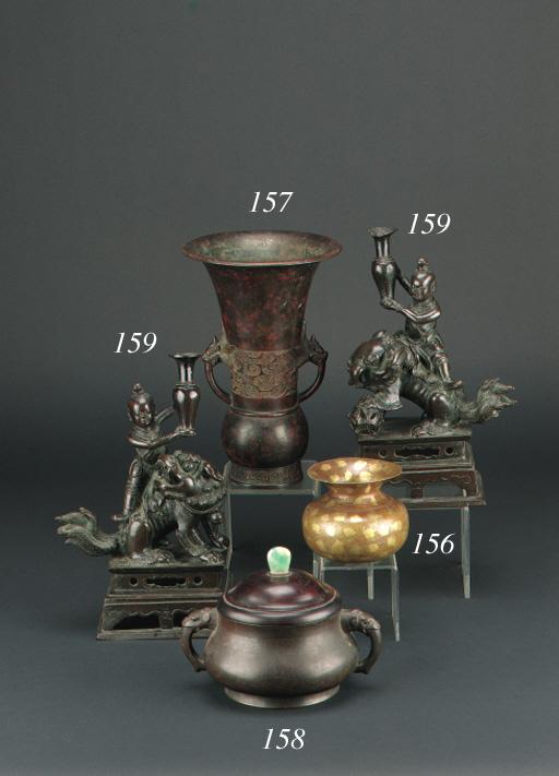 A Chinese bronze flaring vase