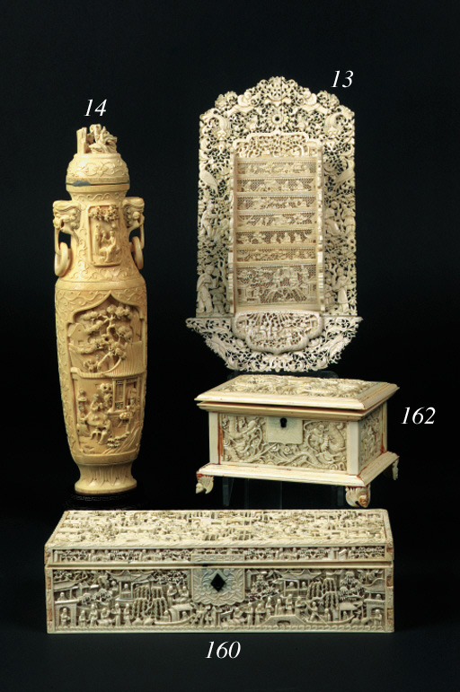 A Canton ivory box and hinged