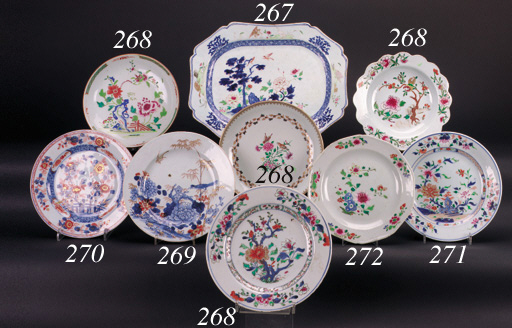 A pair of famille rose octagonal plates