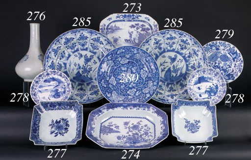 A Chinese blue and white oblon