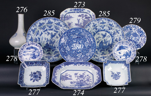 Two Chinese blue and white lob