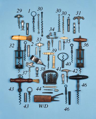 An English 19th century steel two-pillar corkscrew,