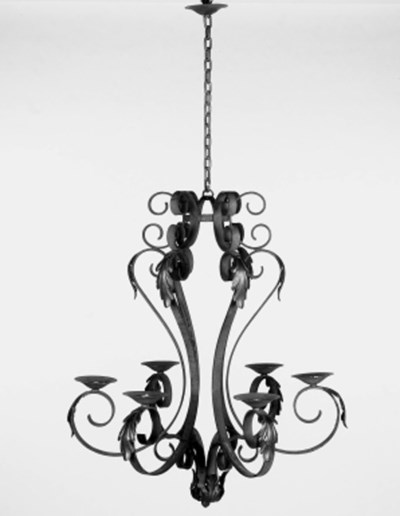 A French wrought iron six ligh