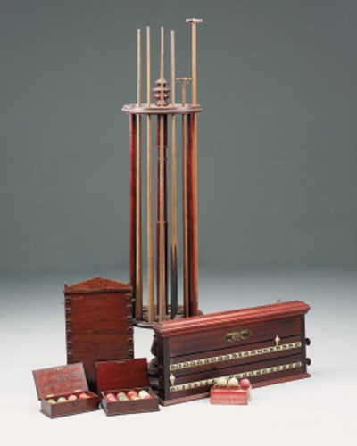 A mahogany snooker cue stand,