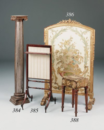 A giltwood fire screen, 19th c