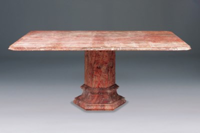 A pink variegated marble table