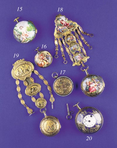 A gilt metal and enamel verge