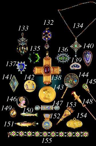 An antique gold locket back Head of Minerva brooch,