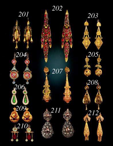 A pair of antique Iberian drop earrings,