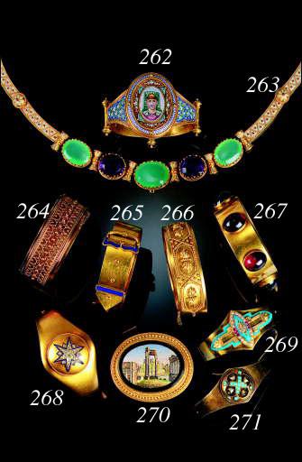 A 19th Century gold, Egyptian Revival micro mosaic bangle,