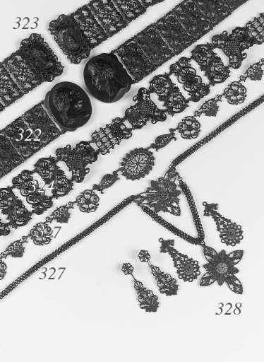 A group of Berlin iron earrings, bracelets and a fitting