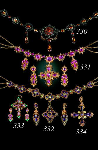 An antique cannetille gold and amethyst cross pendant