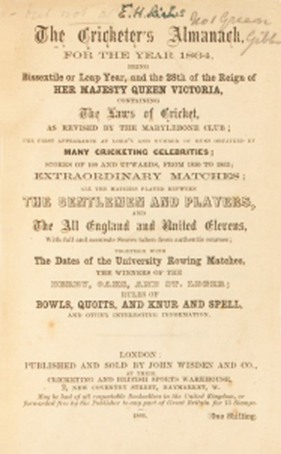 The Cricketer's Almanack, Lond