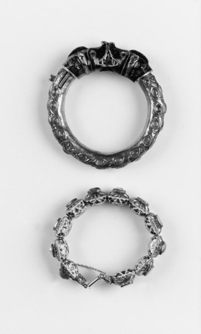 An Indian bangle and bracelet,