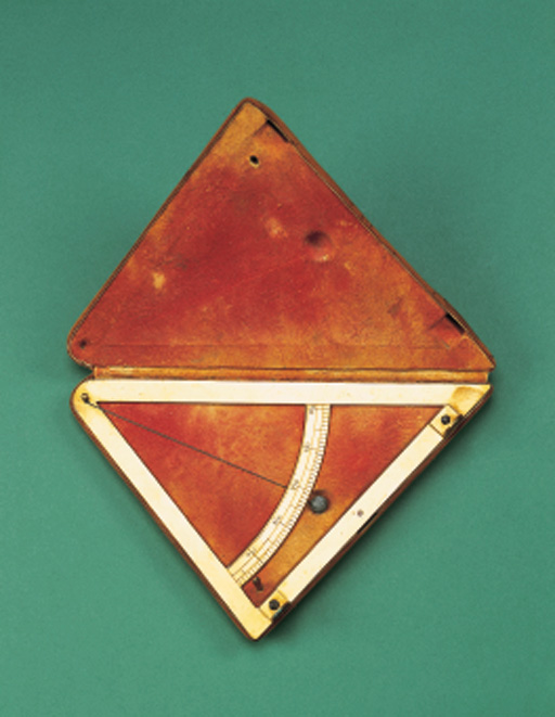 An 18th-Century lacquered-brass incline indicator or gunner's quadrant,