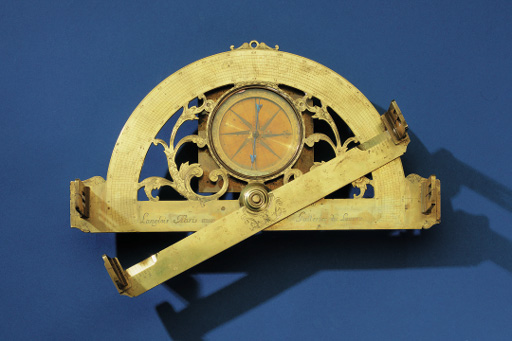 A finely engraved 18th-Century French brass surveyor's graphometer,