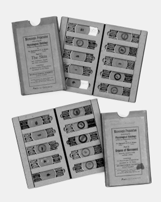 A collection of card-cased sets of microscope preparations,