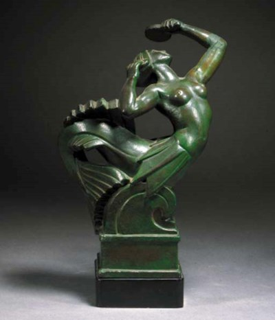 A green patinated plaster figu