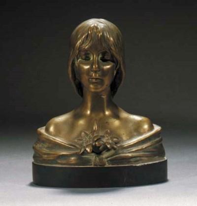 A gilt patinated bronze bust