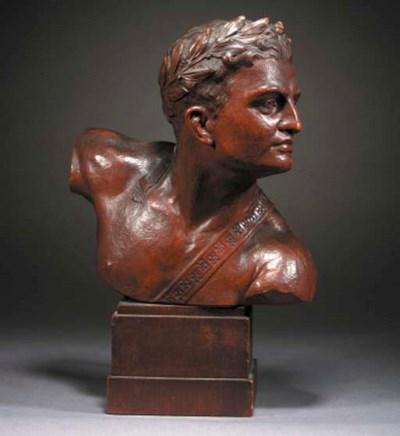 A wooden bust