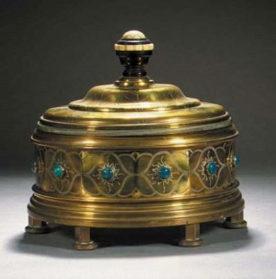 A German hammered brass box an