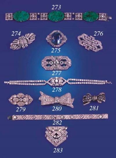 A JADE AND DIAMOND BRACELET