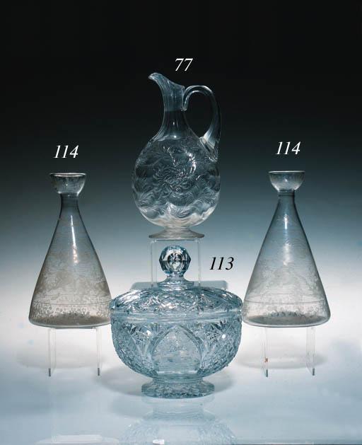 A cut glass ewer