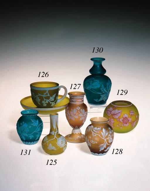 A Stourbridge topaz cameo vase