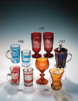 A Bohemian blue cased mug and