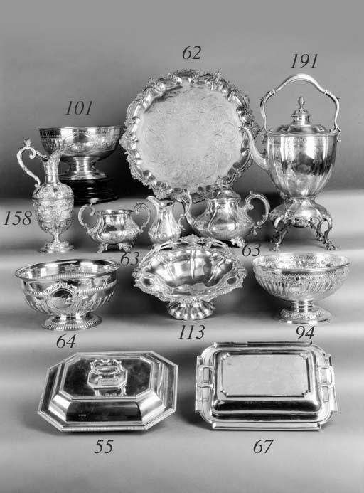 A matched three-piece tea set,