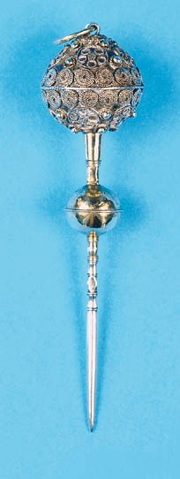 A large silver-gilt stiletto,