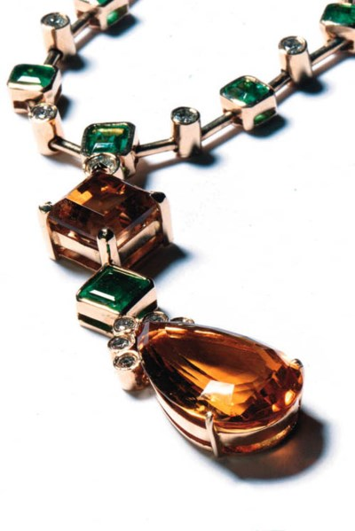 A diamond, emerald and citrine