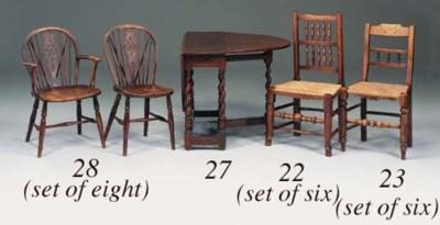 A set of six ash, straw seat c