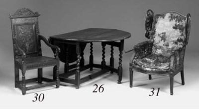 An oak gate-leg table, English